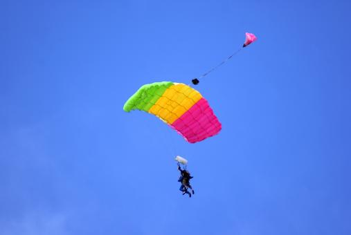 Free Stock Photo of Tandem Parachuting