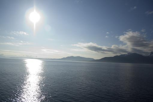 Free Stock Photo of Sun over Inside Passage