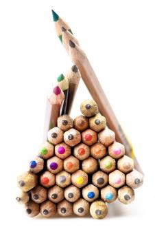 Free Stock Photo of Stacked Colorful Pencils