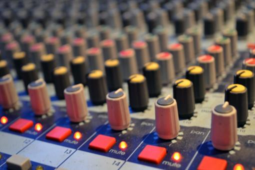 Free Stock Photo of Buttons on an audio mixing board