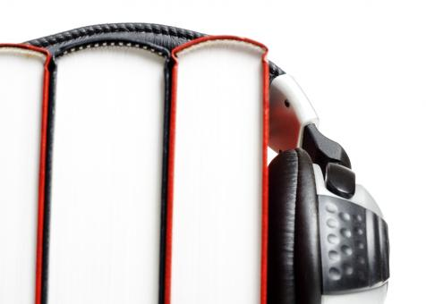 Free Stock Photo of headphones and books