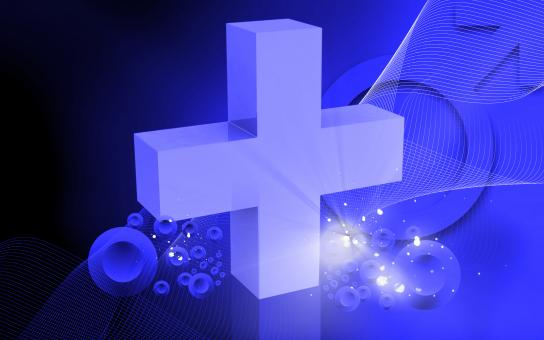 Free Stock Photo of Medical Icon - Cross on Blue Background