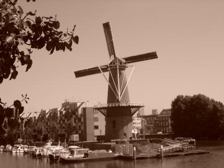 Free Stock Photo of Sepia windmill