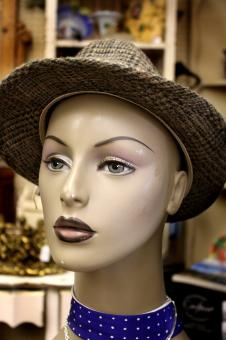 Free Stock Photo of Gray hat on a mannequin