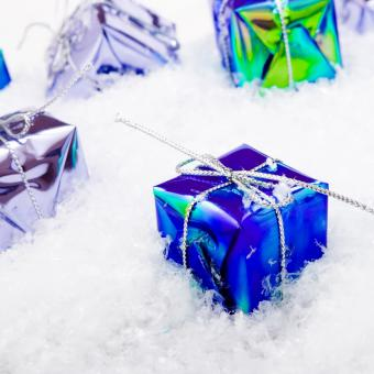 Free Stock Photo of Blue Gift Box Christmas Decoration