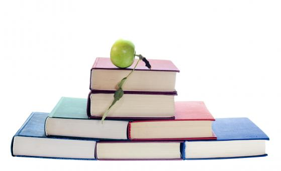 Free Stock Photo of Green apple on books