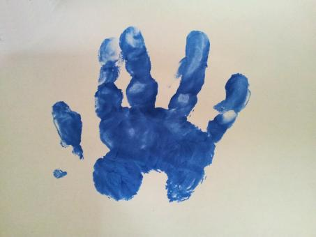 Free Stock Photo of Baby hand inprint over white surface