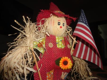 Free Stock Photo of American flag with scarecrow