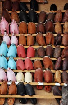 Free Stock Photo of Morocco shoe display