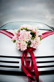 Free Stock Photo of Wedding car decorated with flowers