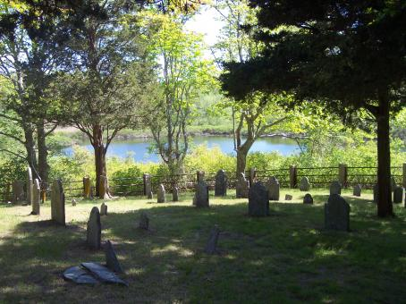 Free Stock Photo of Cemetery with Pond View