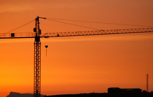 Free Stock Photo of Crane against the sunset