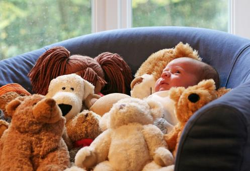 Free Stock Photo of Baby and teddy bears