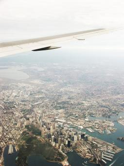 Free Stock Photo of City birds eye view from plane