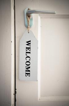 Free Stock Photo of Welcome sign on door