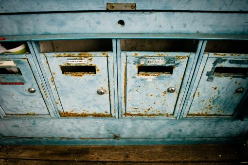 Free Stock Photo of Blue mailboxes