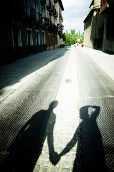 Free Stock Photo of Shadow of a couple holding hands