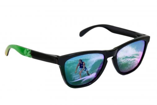 Free Stock Photo of Sunglasses with surfer reflection