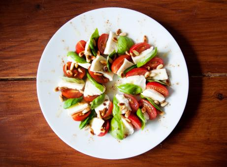Free Stock Photo of caprese tomato mozzarella salad