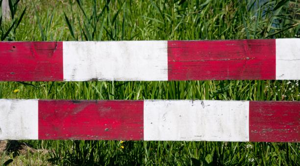 Free Stock Photo of Red white, stop fence