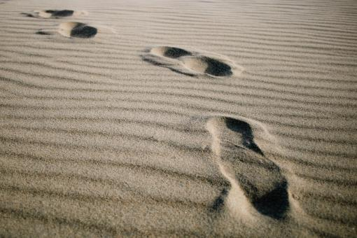 Free Stock Photo of Footprints on the beach