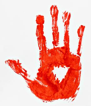Free Stock Photo of Bloody Hand Print