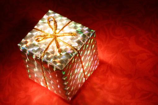 Free Stock Photo of Glowing Gift Box