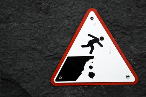 Free Stock Photo of Cliff Drop Warning Sign