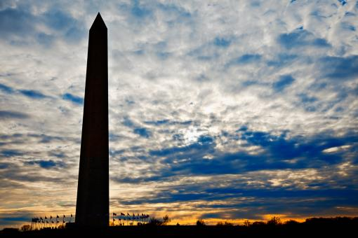 Free Stock Photo of Washington Monument Silhouette
