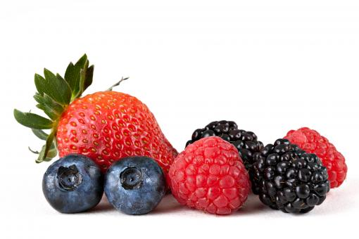 Free Stock Photo of Mix of strawberry, blueberries, raspberries, and blackberries