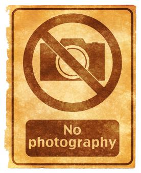 Free Stock Photo of No Photography Grunge Sign