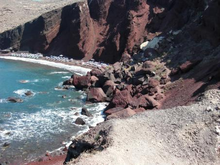 Free Stock Photo of Red Beach, Santorini Island, Greece