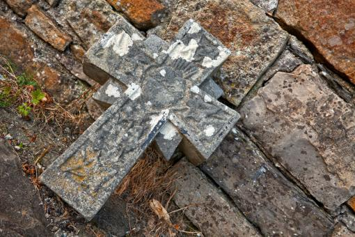 Free Stock Photo of Donegal Cemetery Stone Cross - HDR