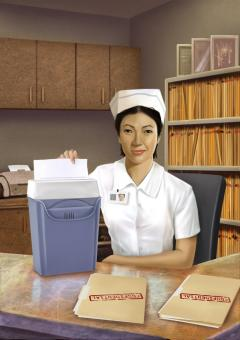 Free Stock Photo of Nurse Shredding Papers