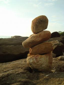 Free Stock Photo of Pebble Balance by the Sea