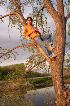 Free Stock Photo of Young man relaxed on tree