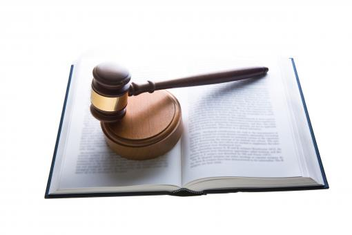Free Stock Photo of Law - Judges Hammer on Book