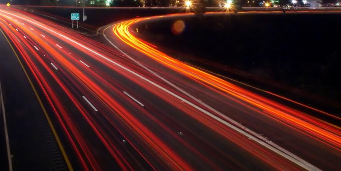 Free Stock Photo of Night traffic on highway