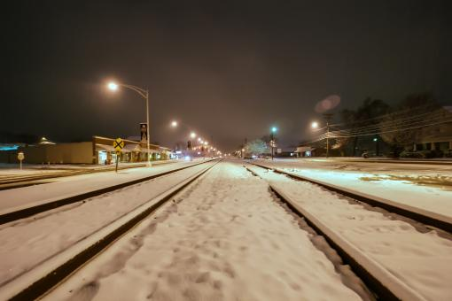 Free Stock Photo of Snow covered rail road