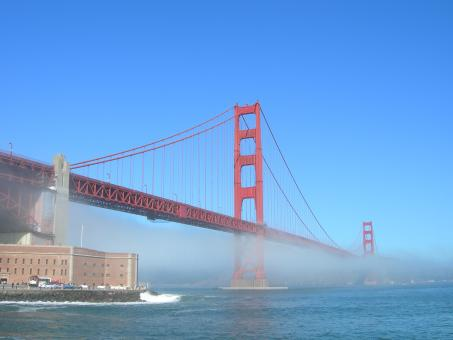 Free Stock Photo of Golden Gate Fog Horizontal
