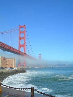 Free Stock Photo of Golden Gate Fog Vertical