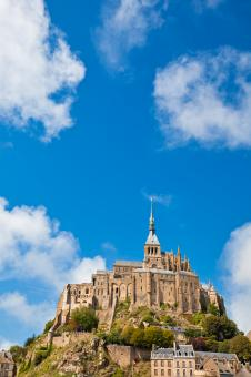 Free Stock Photo of Mont Saint-Michel - Blue Skies