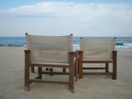 Free Stock Photo of Two chairs on the beach