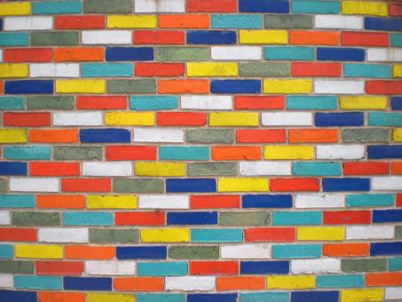 Free Stock Photo of Glazed Color Brick Wall