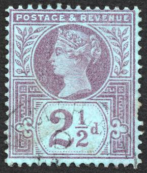 Free Stock Photo of Blue-Violet Queen Victoria Stamp