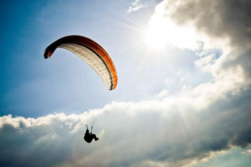 Free Stock Photo of Paraglider in sky