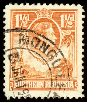 Free Stock Photo of Orange King George VI Stamp