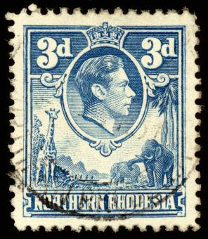 Free Stock Photo of Blue King George VI Stamp
