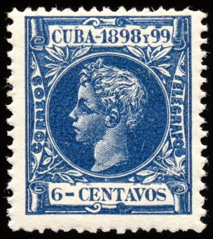Free Stock Photo of Blue King Alfonso XIII Stamp
