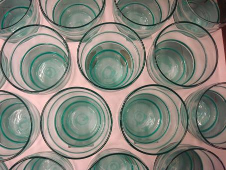 Free Stock Photo of Blue water glasses